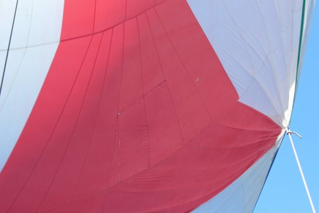 Our Spinnaker and repair in the middle